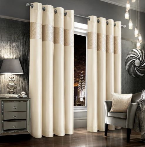 CREAM VELVET GLITZY FAUX SILK DESIGN LINED RINGTOP EYELET LUXURY MODERN CURTAINS